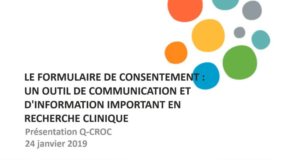 Le formulaire de consentement : un outil de communication et d'information important en recherche clinique