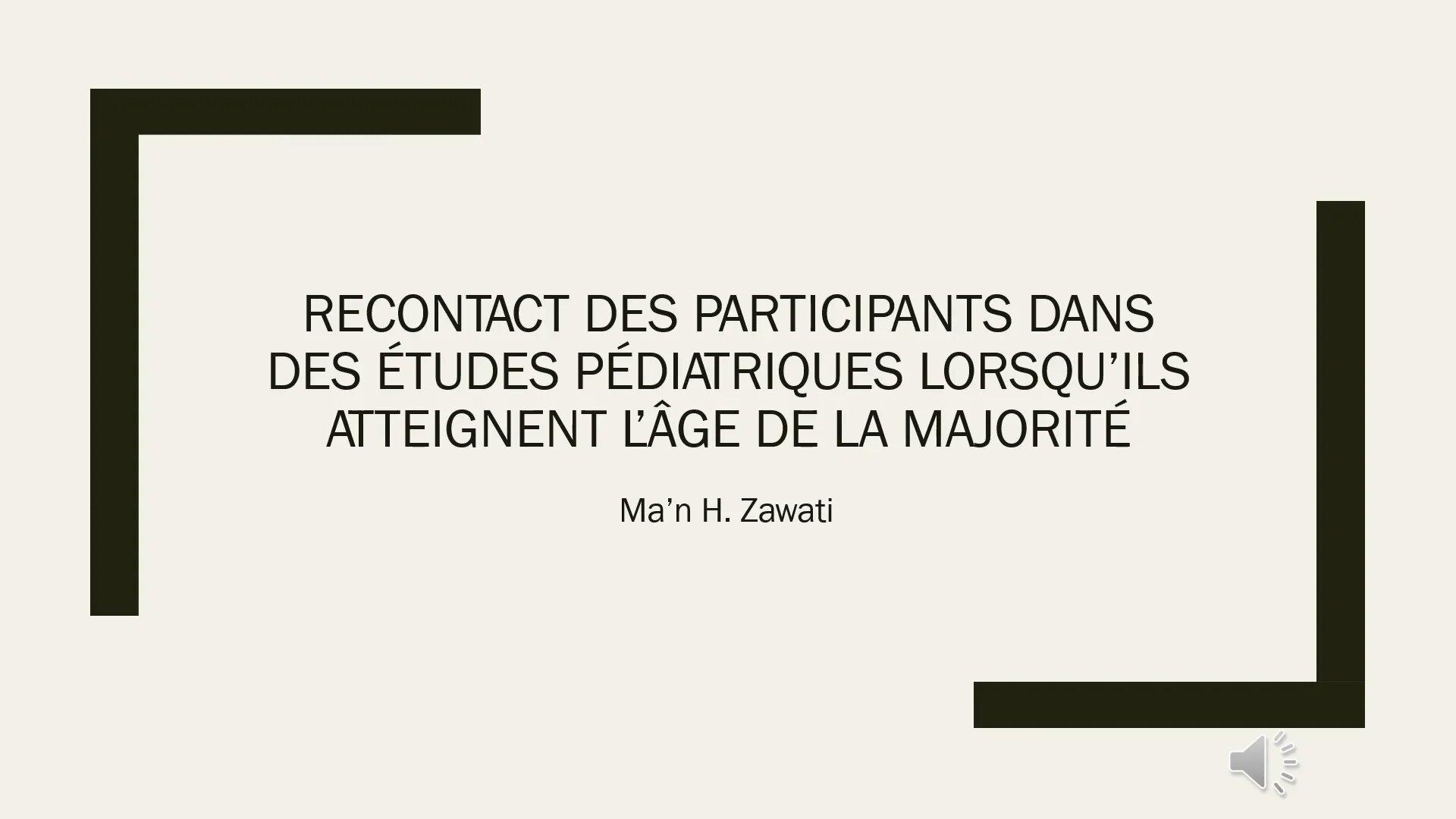 Le consentement dans le cadre d'études pédiatriques