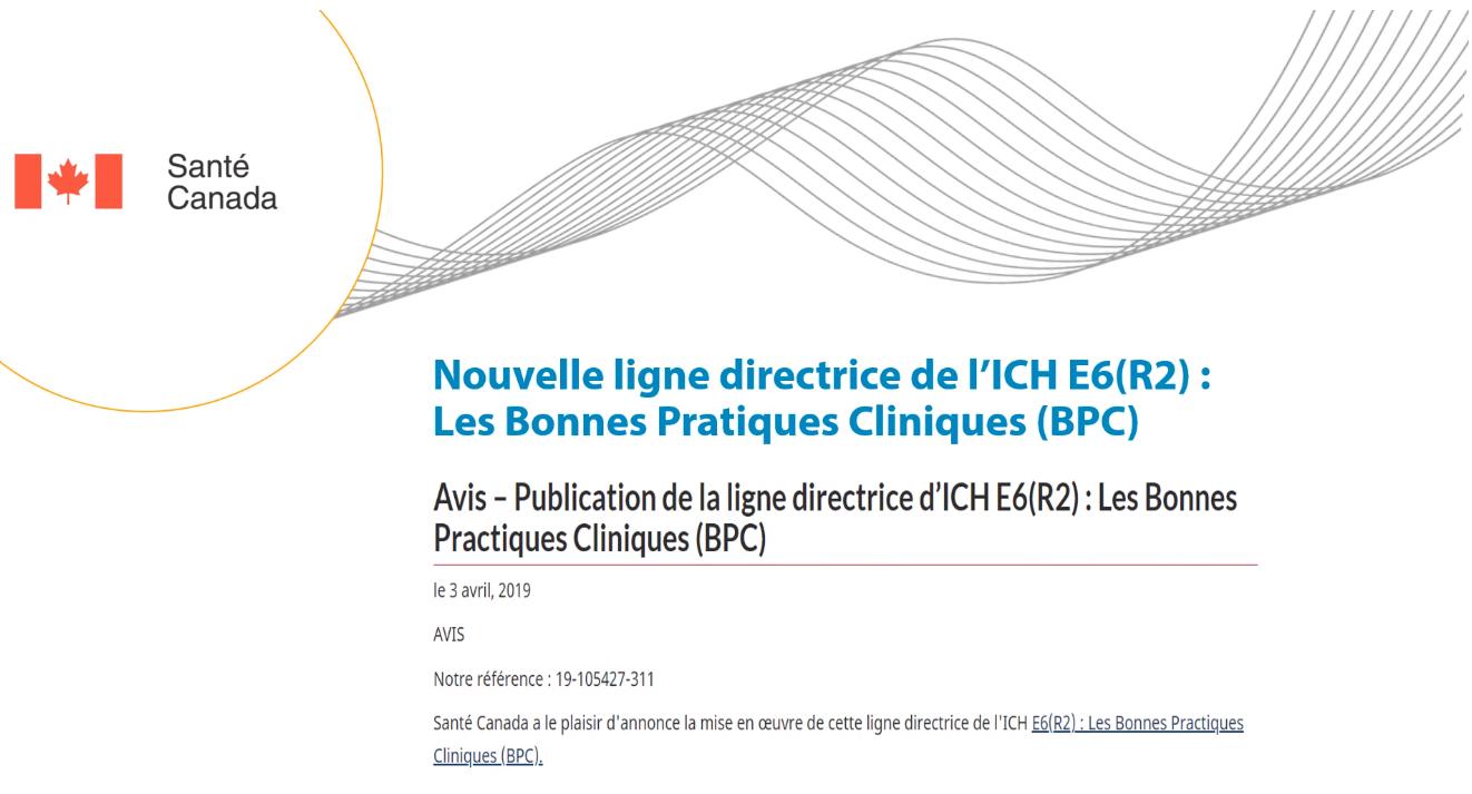Mises à jour des BPC du ICH : E6 (R2)